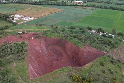 Una mina a cielo abierto en la comunidad de Tepetlaoxtoc, en el Estado de México.