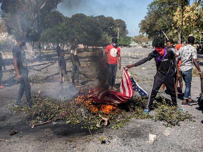 Protestas en Puerto Príncipe para exigir la renuncia del presidente Jovenel Moïse.