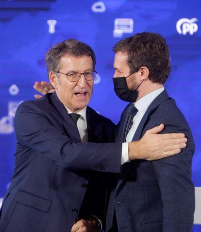 """Alberto Núñez Feijóo y Pablo Casado participan en el acto """"Galicia: más inversiones, menos impuestos""""."""