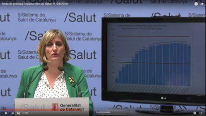 La consejera de Salud, Alba Vergés, en una rueda de prensa durante la crisis del coronavirus.