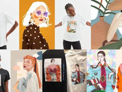 De arriba abajo y de izquierda a derecha, las obras de Poppy Magda, Marialaura Fedi, Janice Sung y Jeremy Combot, en camiseta y dibujo original.