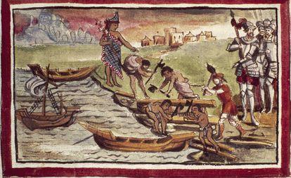 Indígenas construyen naves bajo la supervisión de los castellanos en una ilustración de1579 de Diego Durán.