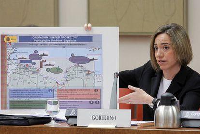 Chacón muestra en la Comisión de Defensa del Congreso el despliegue de los militares españoles en Libia.