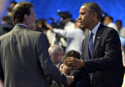 Mariano Rajoy saluda a Barack Obama.