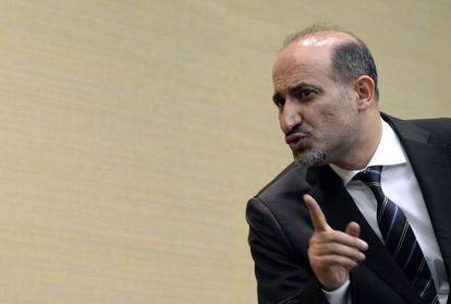 Ahmad Jarba, el líder de la Coalición Nacional Siria, en su conferencia en Ginebra.