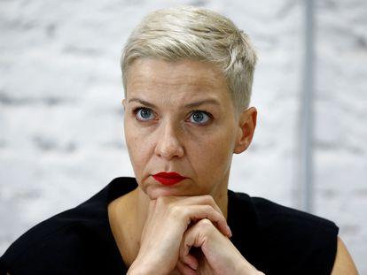 La opositora Maria Kolesnikova, en una conferencia de prensa en Minsk, el 24 de agosto.