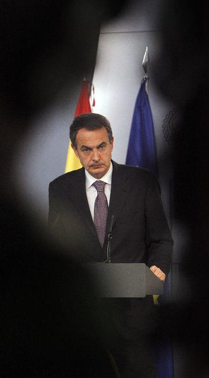 El presidente José Luis Rodríguez Zapatero, durante su comparecencia tras el Consejo.