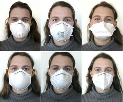 Distintos tipos de mascarilla empleados en el estudio.