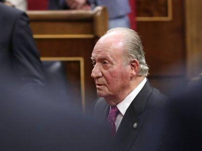 Juan Carlos I, en el Congreso durante el acto por el 40º aniversario de la Constitución, en 2018.