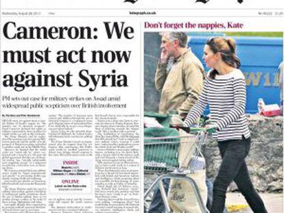 Portada de la edición del miércoles 28 de agosto de 2013 del periódico 'The Daily Telegraph'.