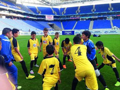 Menores participantes en el programa de las Escuelas Deportivas Danone.