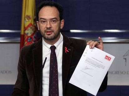 Antonio Hernando, el 1 de diciembre en el Congreso de los Diputados.