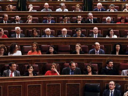 Pablo Iglesias, durante su intervención en el Congreso.