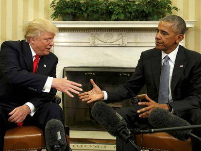 El presidente electo, Donald Trump, con Barack Obama, en la reunión que mantuvieron el 10 de noviembre