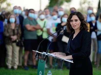 La presidenta de la Comunidad de Madrid, Isabel Díaz Ayuso, el 21 de septiembre, en Boadilla del Monte.