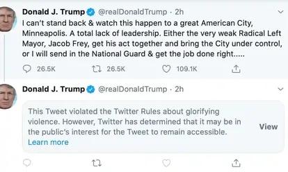 Tweet de Trump ocultado por Twitter
