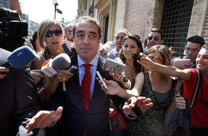 El exvicepresidente valenciano, Víctor Campos, el día que fue a declarar.