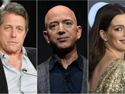 Hugh Grant, Jeff Bezos y Anne Hathaway.