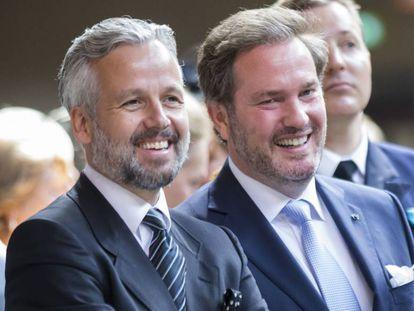 Ari Behn y, a la derecha, el marido de Magdalena de Suecia Chris O'Neill, en Estocolmo, en 2016.