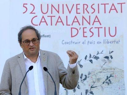 El presidente catalán, Quim Torra, su discurso en la clausura de la 52 edición de la Universitat Catalana d'Estiu este domingo. En vídeo, Torra anuncia restricciones por el aumento de contagios.