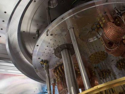 Vista del interior de un ordenador cuántico.