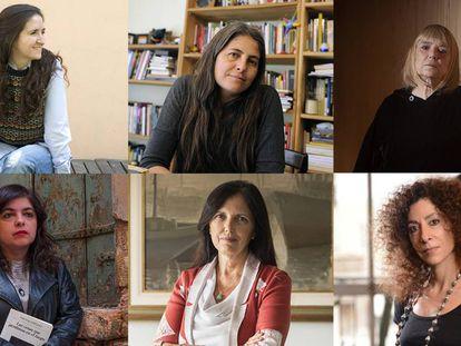 De izquierda a derecha y de arriba a abajo: María Gaínza, Selva Almada, María Moreno, Mariana Enríquez, Claudia Piñeiro y Leila Guerriero.
