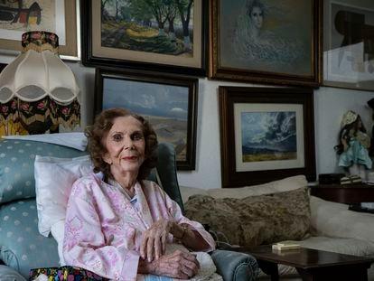 Laura Morán, de 95 años, en su casa de Lomas de Tecamachalco, Estado de México.