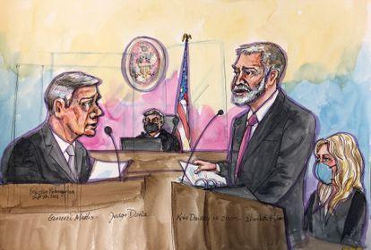 Dibujo del testimonio del exsecretario de Defensa, Jim Mattis, en el juicio contra Holmes.
