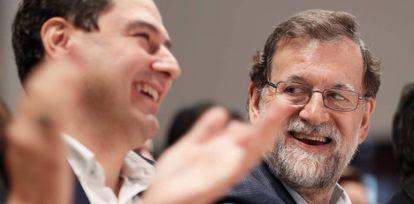 El presidente del Gobierno, Mariano Rajoy, durante la clausura de un acto del PP de Sevilla