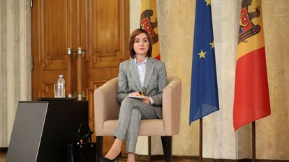 La presidenta electa de Moldavia, Maia Sandu, en una conferencia de prensa en Chisinau, el 30 de noviembre de 2020.