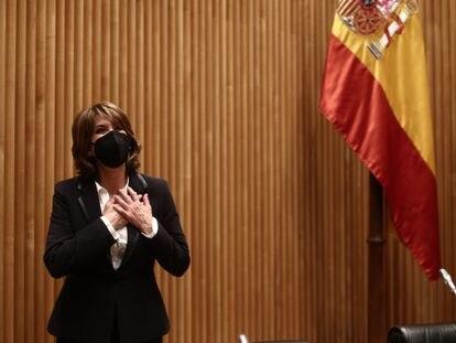 La Fiscal General del Estado, Dolores Delgado, este martes en el Congreso de los Diputados.