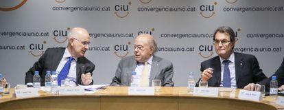 Duran, Pujol y Mas, durante la reunión del comité ejecutivo de CiU.