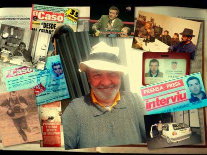 'Collage' que muestra al periodista Pedro Avilés rodeado de algunos de sus carnés de prensa en medios como 'Interviú' o 'El Caso', fotografías de entrevistas con víctimas y familiares y algunas de sus más sonadas portadas.