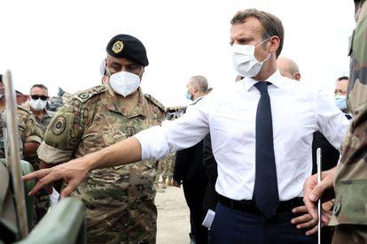 El presidente francés, Emmanuel Macron, el martes en el puerto de Beirut.