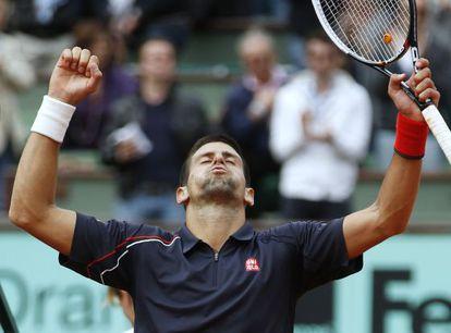 Djokovic celebra el triunfo ante Seppi.