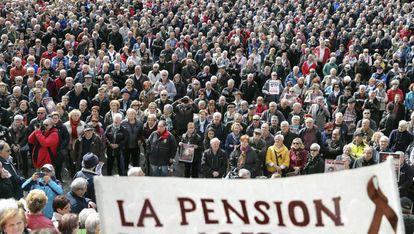 Pensionistas durante una concentración en Bilbao.