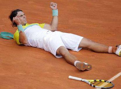 Nadal celebra su victoria ante Djokovic.