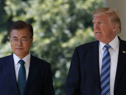 Donald Trump con el presidente surcoreano, Moon Jae-in, en la Casa Blanca.