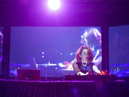 Merche Blasco, durante una sesión de su 'performance' muscial y gestual 'Fauna' en Nueva York.