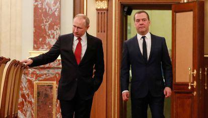 Putin y Medvedev en una reunión este miércoles en el Kremlin.