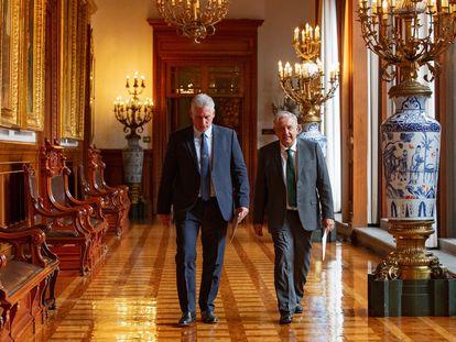 Miguel Díaz-Canel y Andrés Manuel López Obrador en el Palacio Nacional el pasado 16 de septiembre.