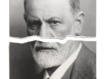 Fotomontaje con fotografía de Sigmund Freud.