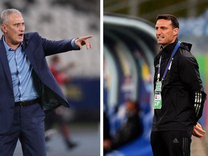 Los entrenadores de Brasil, Tite, y de Argentina, Lionel Scaloni, durante la Copa América.