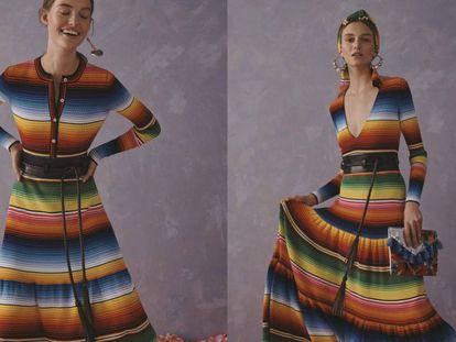 Vestidos de Carolina Herrera inspirados en el sarape de Saltillo.