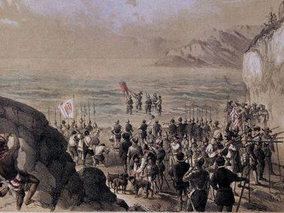 """Núñez de Balboa se sumerge con yelmo y coraza en el mar y dedica el hallazgo """"a los muy altos y poderosos reyes don Fernando y doña Juana""""."""