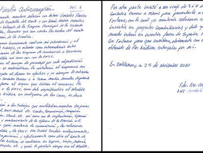 Uno de los nuevos escritos de confesión enviados por Correa a la Fiscalía Anticorrupción.