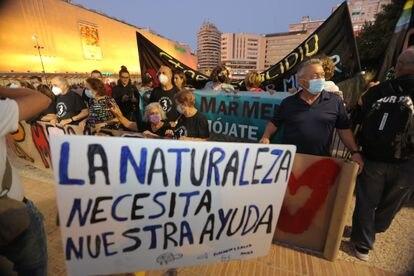 Miles de personas se manifiestan hoy en Murcia exigiendo medidas para salvar el mar Menor.