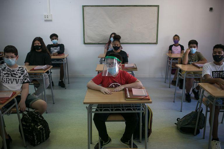 Inicio de curso en el instituto Joanot Martorell, de Esplugues de Llobregat.