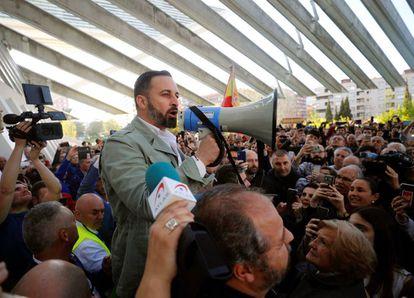 El presidente de Vox, Santiago Abascal durante un acto electoral celebrado hoy en Oviedo.