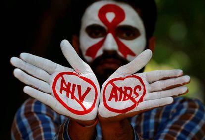 Una campaña en la India para detener el VIH/sida.